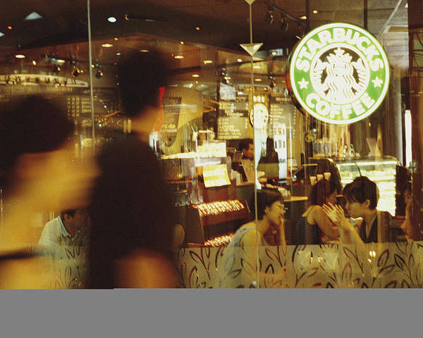 Asia Poster featuring the photograph People At One Of The First Starbucks by Justin Guariglia