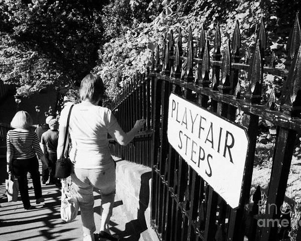 Princes Poster featuring the photograph People Walking Down The Playfair Steps Down Into Princes Street Gardens Edinburgh Scotland Uk United by Joe Fox