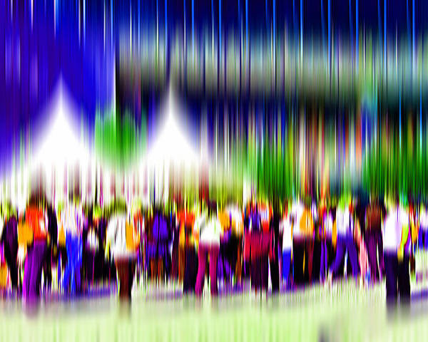 Abstract Poster featuring the digital art People Walking In The City-2 by Joel Vieira