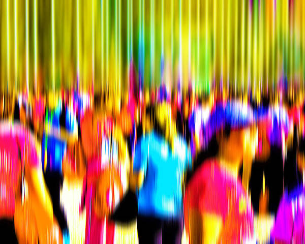Abstract Poster featuring the digital art People Walking In The City-4 by Joel Vieira