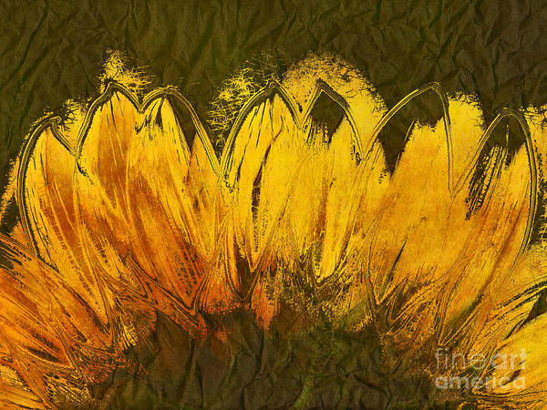 Sunflower Poster featuring the digital art Petales De Soleil - A43t02b by Variance Collections