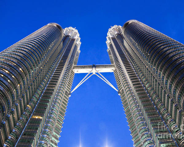Tower Poster featuring the photograph Petronas Tower Bridge Detail by Gualtiero Boffi