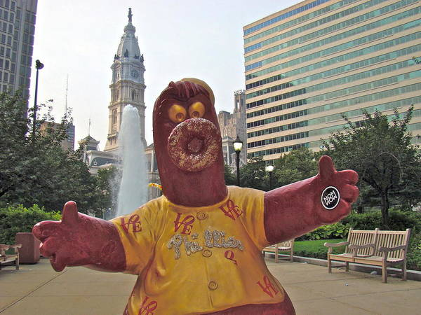 Phanatic Statue Love Park Philadelphia City View Poster featuring the photograph Phanatic Love Statue In The City by Alice Gipson