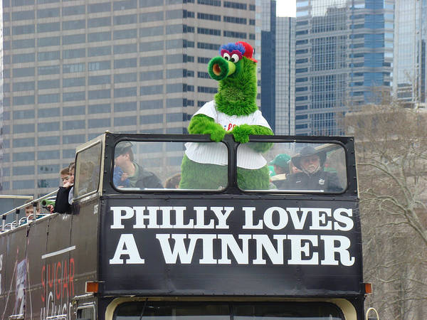 Philly Loves A Winner Bus Parade Phanatic Green City Philadelphia Poster featuring the photograph Philly Loves A Winner by Alice Gipson