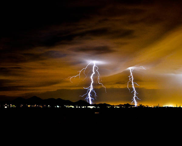 Phoenix Poster featuring the photograph Phx Night Lightning #1 by Kenny Jalet