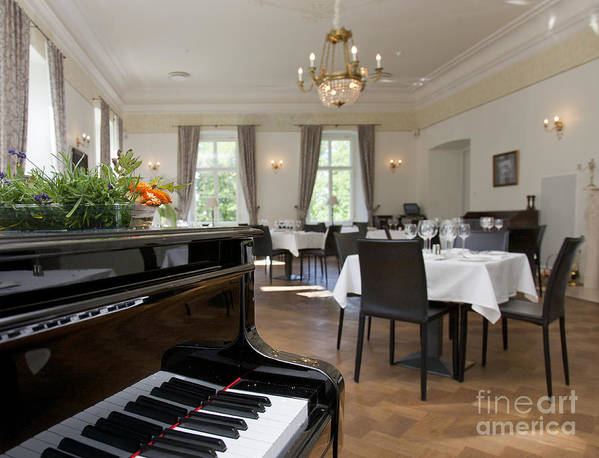 Chairs Poster featuring the photograph Piano In A Upscale Dining Room by Jaak Nilson