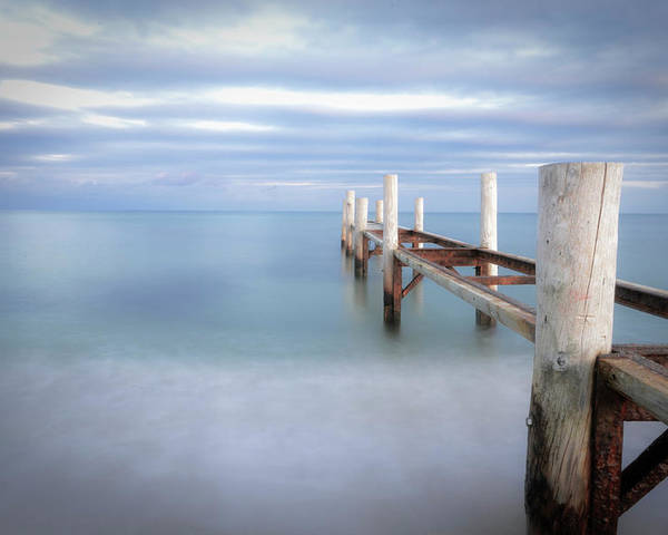 Horizontal Poster featuring the photograph Pier In Pampelonne Beach by Dhmig Photography