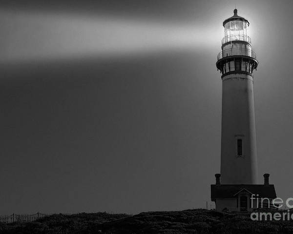 Pigeon Point Poster featuring the photograph Pigeon Point Lighthouse In Black And White by Paul Topp