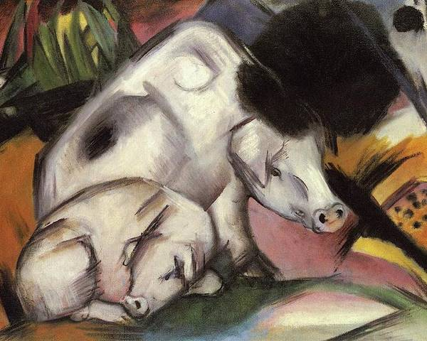 Pigs Poster featuring the painting Pigs by Franz Marc