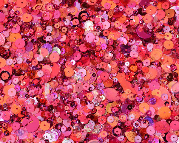 Horizontal Poster featuring the photograph Pink Sequins Of Various Shapes And Sizes by Andrew Paterson