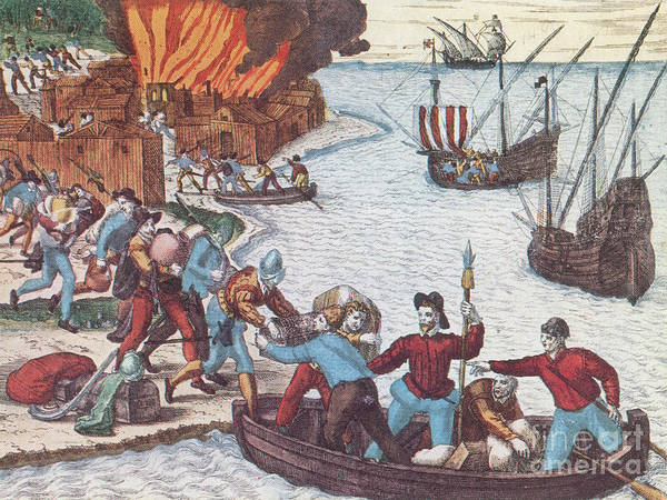 History Poster featuring the Pirates Burn Havana, 1555 by Photo Researchers
