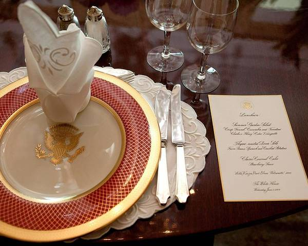 History Poster featuring the photograph Place Setting Of The White House China by Everett