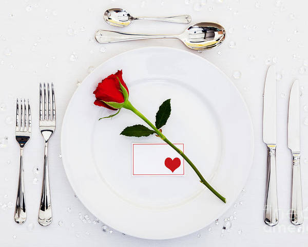 Table Poster featuring the photograph Place Setting With Red Rose by Richard Thomas