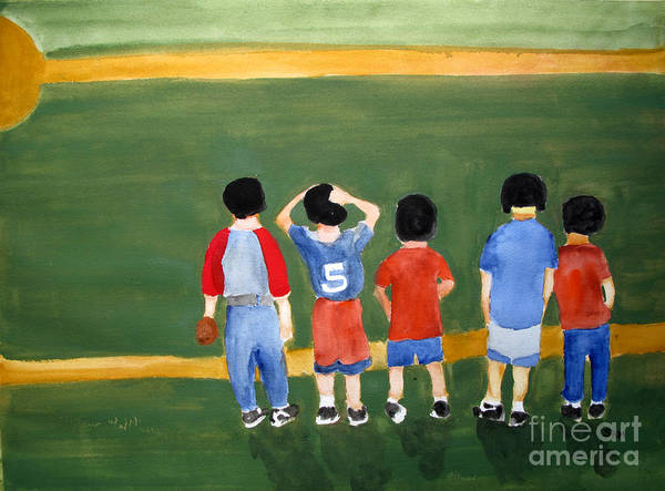 Baseball Poster featuring the painting Play Ball by Sandy McIntire