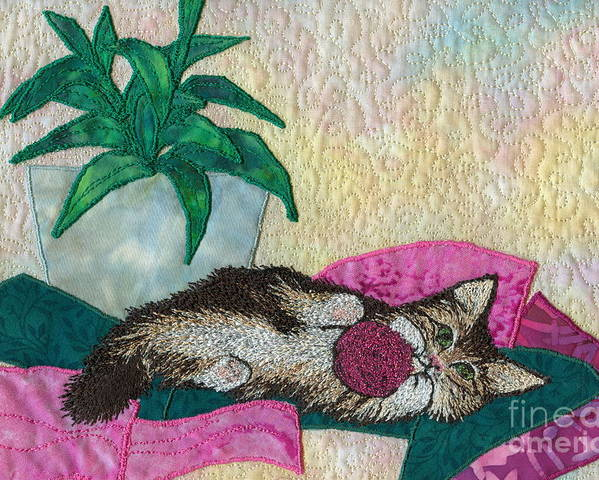Cat Poster featuring the tapestry - textile Playful Mischief by Denise Hoag