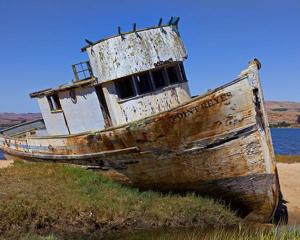 Old Poster featuring the photograph Point Reyes Beached Boat by Garry Gay