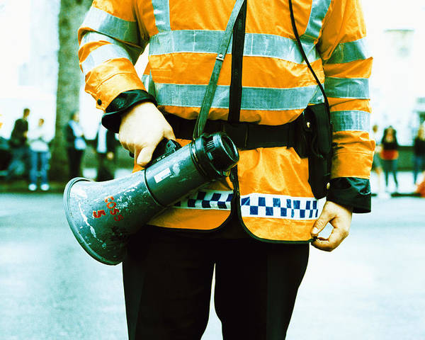 Megaphone Poster featuring the photograph Police Officer by Kevin Curtis