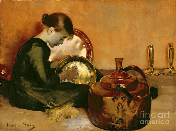 Polishing Pans (oil On Canvas) By Marianne Stokes (1855-1927) Female; Young Girl; Seated; Working; Brass; Servant; Pan; Domestic Chores; Polish; Pot; Girl Poster featuring the painting Polishing Pans by Marianne Stokes