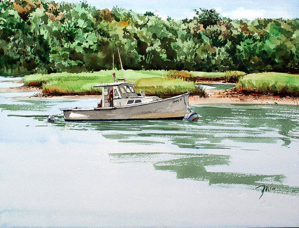 Peter Sit Watercolor Poster featuring the painting Polly C on the Mill River by Peter Sit