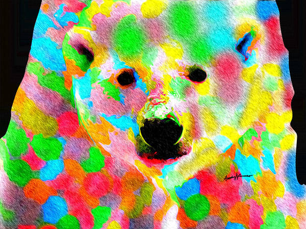 Animals Poster featuring the painting Polychromatic Polar Bear by Anthony Caruso