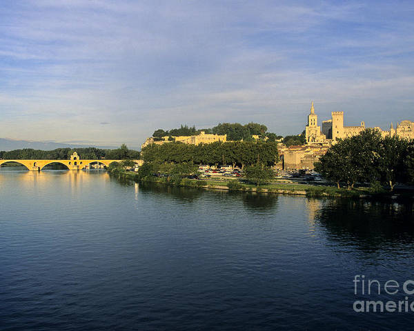 France Poster featuring the photograph Pont D'avignon Et Palais Des Papes. by Bernard Jaubert