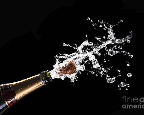Champagne Poster featuring the photograph Popping Champagne Cork by Gualtiero Boffi