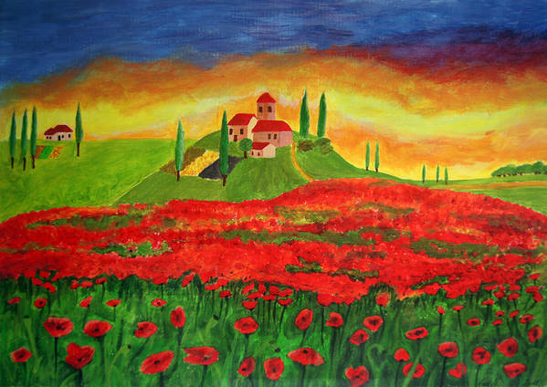 Landscape Poster featuring the painting Poppy Fields by Ana Leko Nikolic