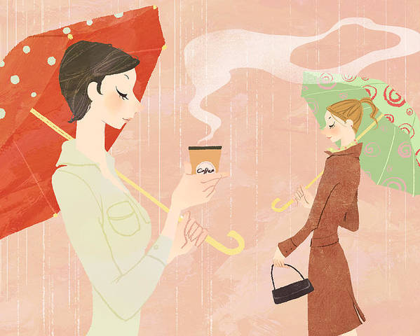 Adult Poster featuring the digital art Portrait Of Young Woman In The Rain Holding Umbrella And A Takeaway Coffee by Eastnine Inc.