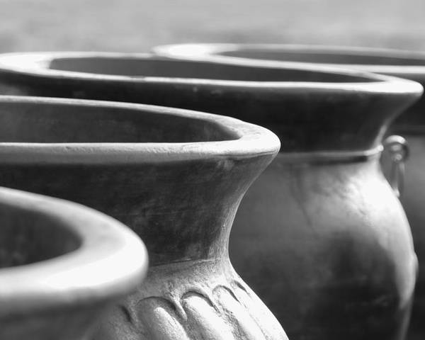 Terracotta Poster featuring the photograph Pots In Black And White by Kathy Clark