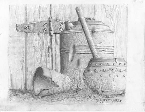 Still Life Poster featuring the drawing Potting Shed by Jim Hubbard