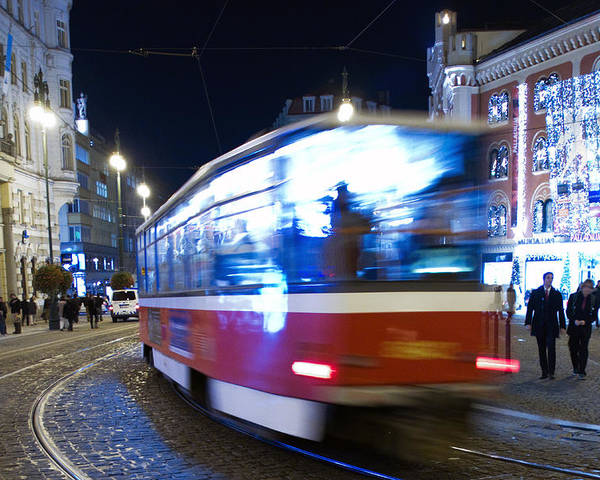 Blur Poster featuring the photograph Prague Tram by Stelios Kleanthous