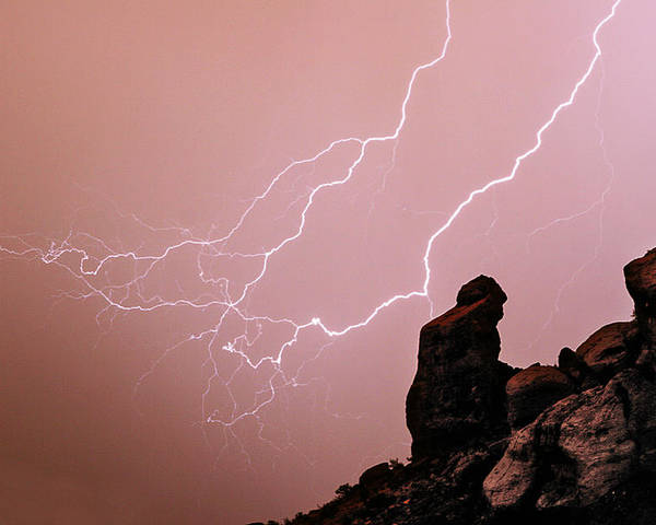 'praying Monk' Poster featuring the photograph Praying Monk Camelback Mountain Lightning Monsoon Storm Image by James BO Insogna