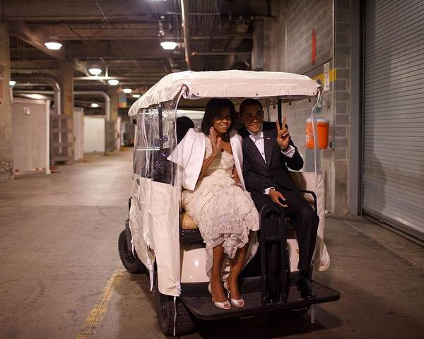 History Poster featuring the photograph President And Michelle Obama Ride by Everett