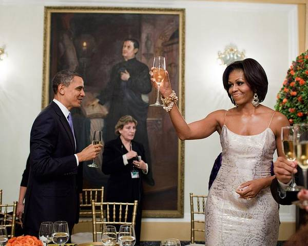 History Poster featuring the photograph President And Michelle Obama Toast by Everett