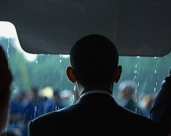 History Poster featuring the photograph President Barack Obama In The Rain by Everett