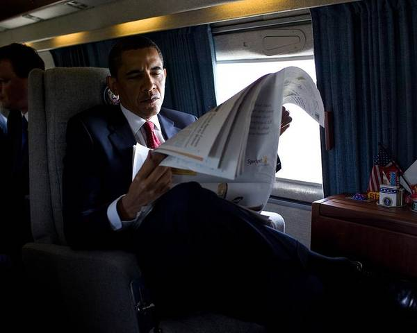 History Poster featuring the photograph President Barack Obama Reading by Everett