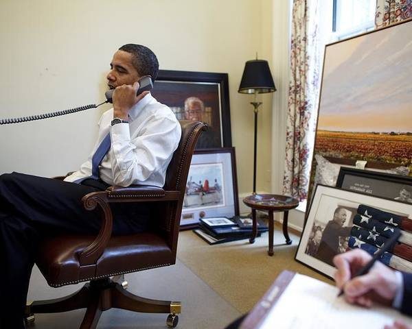 History Poster featuring the photograph President Barack Obama Takes A Phone by Everett