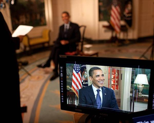 History Poster featuring the photograph President Barack Obama Tapes The Weekly by Everett