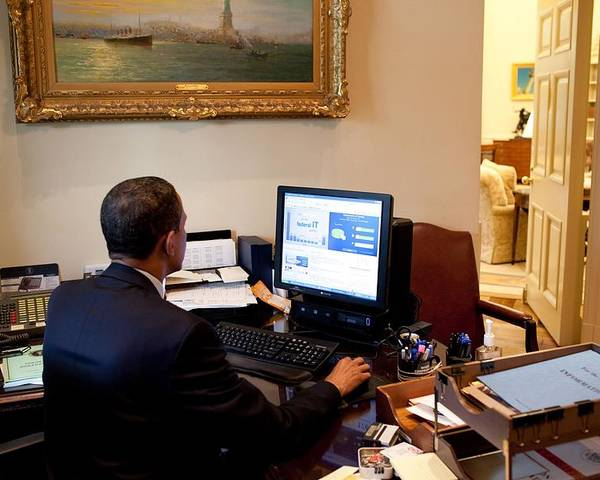 History Poster featuring the photograph President Barack Obama Tests The New by Everett