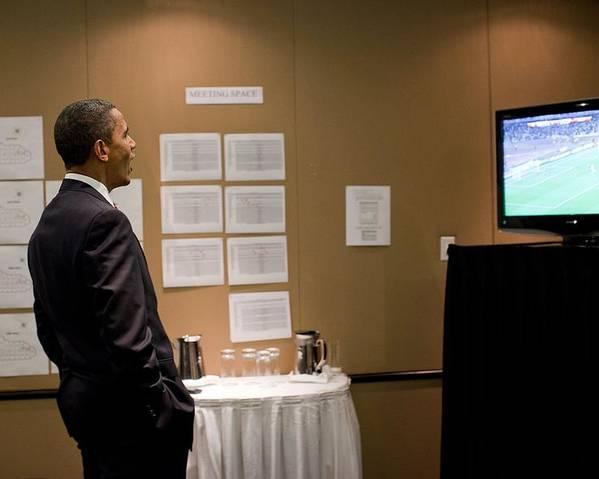 History Poster featuring the photograph President Barack Obama Watches The U.s by Everett