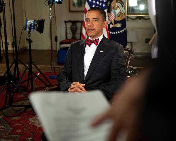 History Poster featuring the photograph President Barack Obama Wearing A Bow by Everett