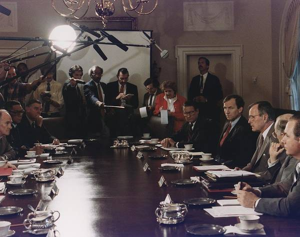 History Poster featuring the photograph President Bush Participates In A Full by Everett