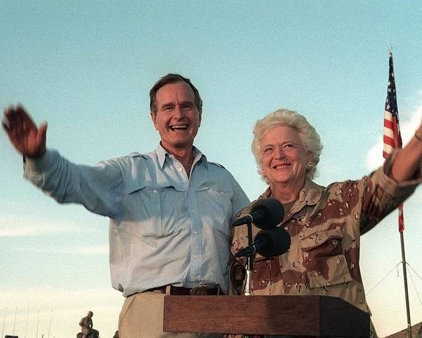 History Poster featuring the photograph President George Bush And Barbara Bush by Everett
