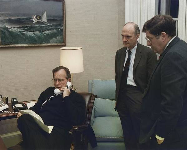 History Poster featuring the photograph President George Bush In A Telephone by Everett