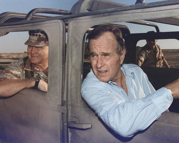 History Poster featuring the photograph President George Bush Riding In An by Everett