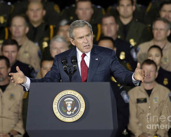 Horizontal Poster featuring the photograph President George W. Bush Speaks by Stocktrek Images