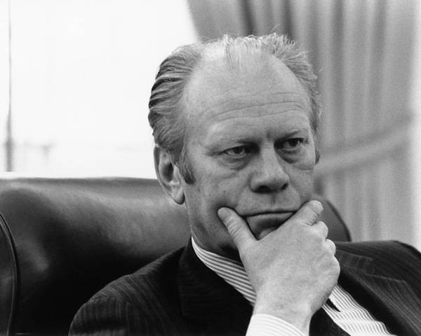 History Poster featuring the photograph President Gerald Ford Listening by Everett