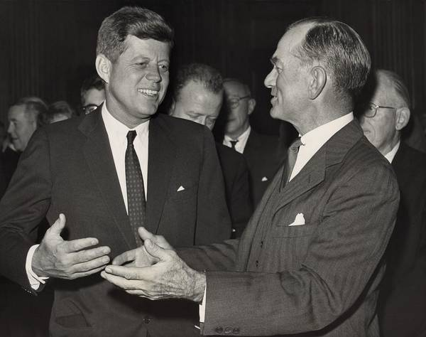 History Poster featuring the photograph President Kennedy Talking With Arkansas by Everett
