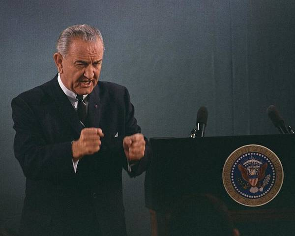History Poster featuring the photograph President Lyndon Johnson In An Emphatic by Everett
