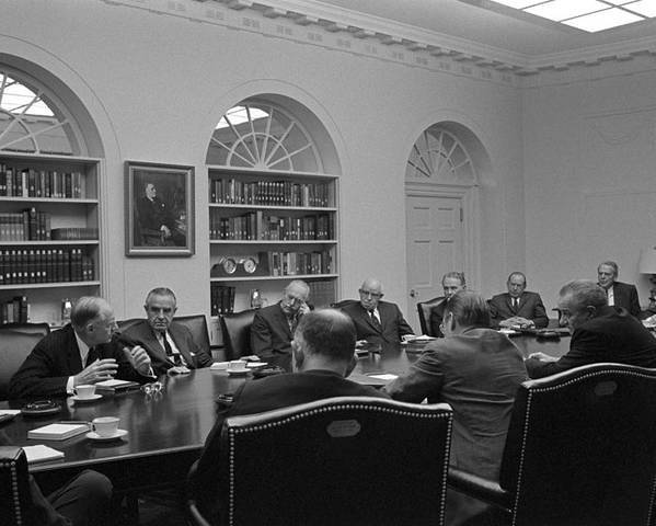 History Poster featuring the photograph President Lyndon Johnson Meets With The by Everett